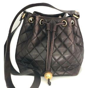 Vintage Chanel Dark Brown Lamb Leather Bucket Bag